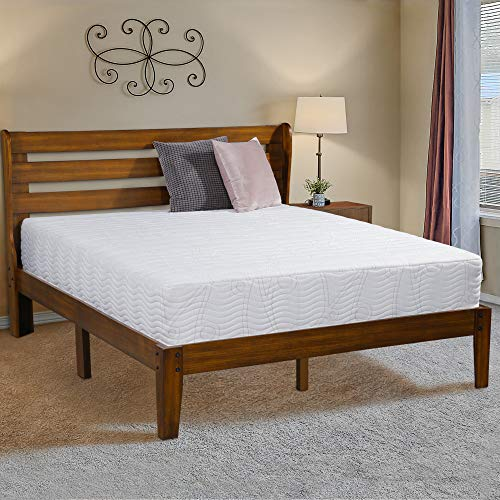 - Ecos Living 14 Inch Solid Wood Platform Bed Frame with Headboard, Natural Finish Brown, No Box Spring Requierd, Wood Slat, Comfort Espresso Finish (Full)