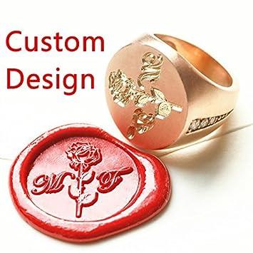 mdlg diseño personalizado logotipo de lujo anillo de bodas de oro con sello de cera de