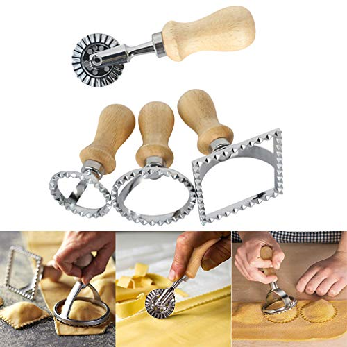 Gotian Pasta Hand-Cutting Machine Embossed Dumpling Embossing Machine Cookie Mold Cake Mold Baking Utensils Ideal for Making Fat Ravioli with Extra Filling -