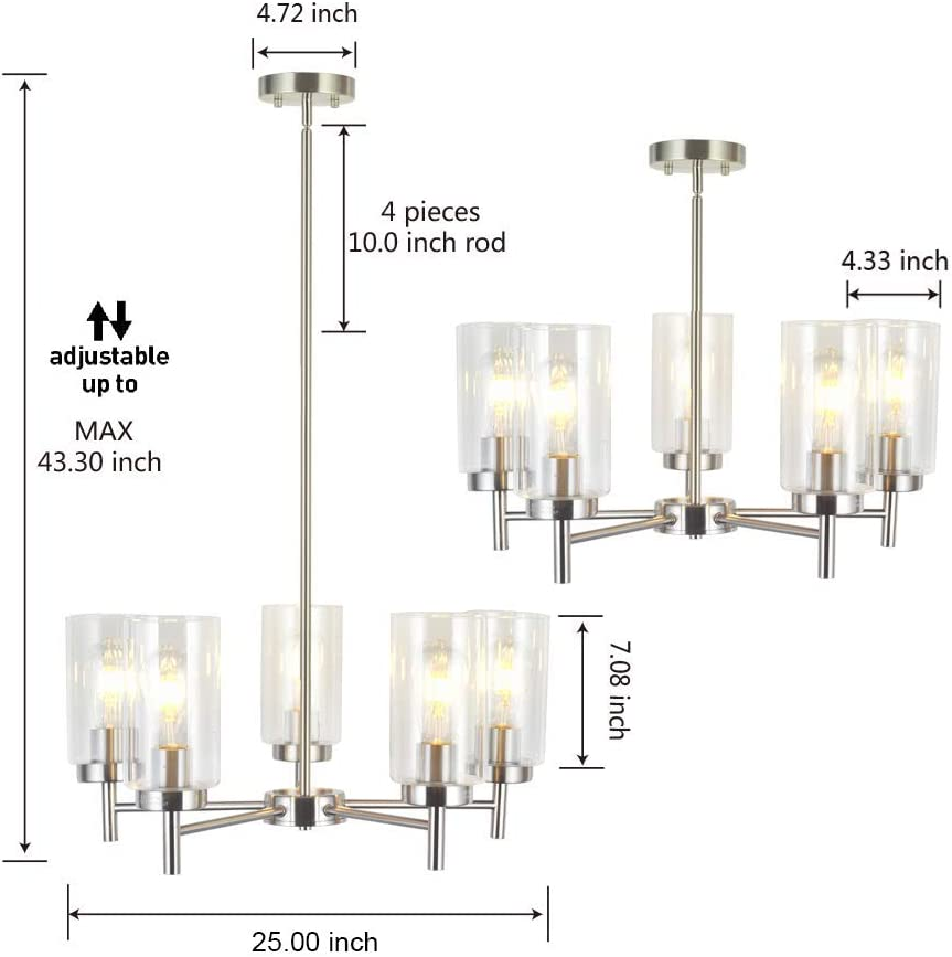 VINLUZ Contemporary 5 Light Large Chandeliers Modern Clear Glass Shades Pendant Lighting Brushed Polished Nickel Dining Room Lighting Fixtures Hanging Adjustable Wire Semi Flush Ceiling Lights - -