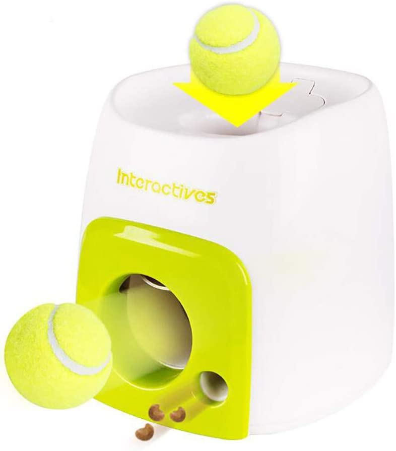Dog Slow Feeder Toy With Tennis Ball, Food Dispensers Pet Dog Toy, Thrower Food Rewarded Machine Training Pet Toy, Dog Ball Throwing Toy, Automatic Dog Ball Launcher for Dog Training