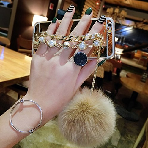 iPhone7 Plus Case,iPhone7 Plus Pearl Chain Holder Fur Ball Case,Goodaa Luxury Hairy Fur Plush Ball Pearl Metal Chain Holder Bracelet Cover Mirror Case For iPhone7 - Chain Case