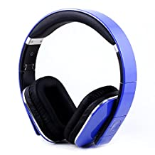August EP650-Bluetooth Wireless Stereo Headphones–Over Ear Headphones with 3.5mm Wired Audio In-Leather Cushioned-Rechargeable Battery-NFC Tap To Connect and built-in Microphone-Compatible with Mobile Phones, iPad, Laptops, Tablets etc. (Blue)