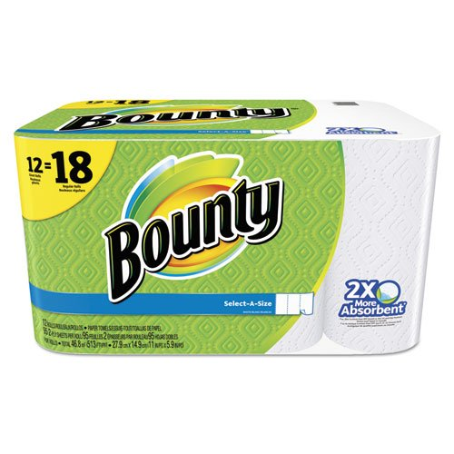 Bounty 95026 Select-a-Size Perforated Roll Towels 11 x 5.9 White 95 Sheets/Roll 12/Pack by Bounty