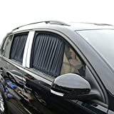 BININBOX 2 Pcs Black Adjustable VIP Car Window Mesh Style Curtain Sunshade Visor (Pack of 1)