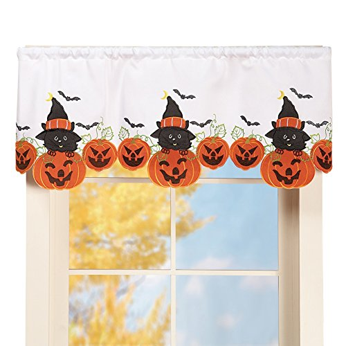 Halloween Black Cats & Pumpkins Window Valance