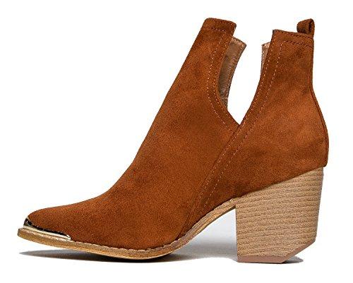 MI IM Western Slip auf V-Cut Out Stacked Heel Bootie - Seitlicher Schnitt aus Metall mit Knöchelzug Cowboy Women's Boot Bräunen