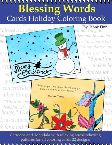 Blessing Words: Cards Holiday coloring book:Cartoon: relaxing stress pattern: greeting cards: foldable greeting cards to color