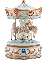 Carousel Music Box, Wind-Up Music Box Horse Music Box Carousel Toy, Musical Carousel Horse Rotate Music Boxes with Led Luminous Light, Melody 3-Horse Carousel Horse Music Box for Birthday Gift