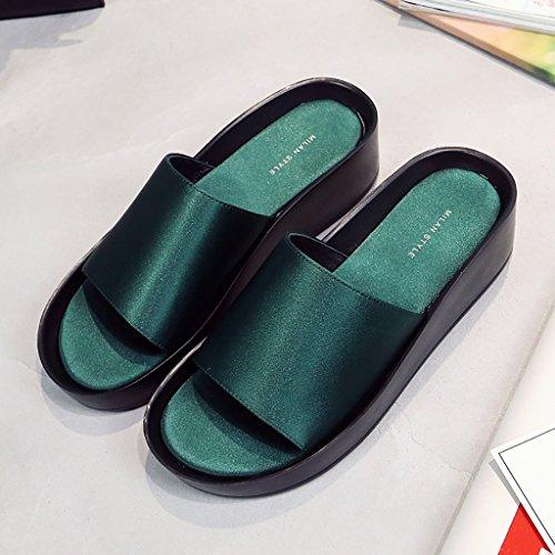 PENGFEI Chanclas de playa para mujer Zapatillas de playa de verano Mujer Casual de la moda antideslizante Pendiente con sandalias Negro, verde y rojo Cómodo y transpirable ( Color : Rojo , Tamaño : EU Verde