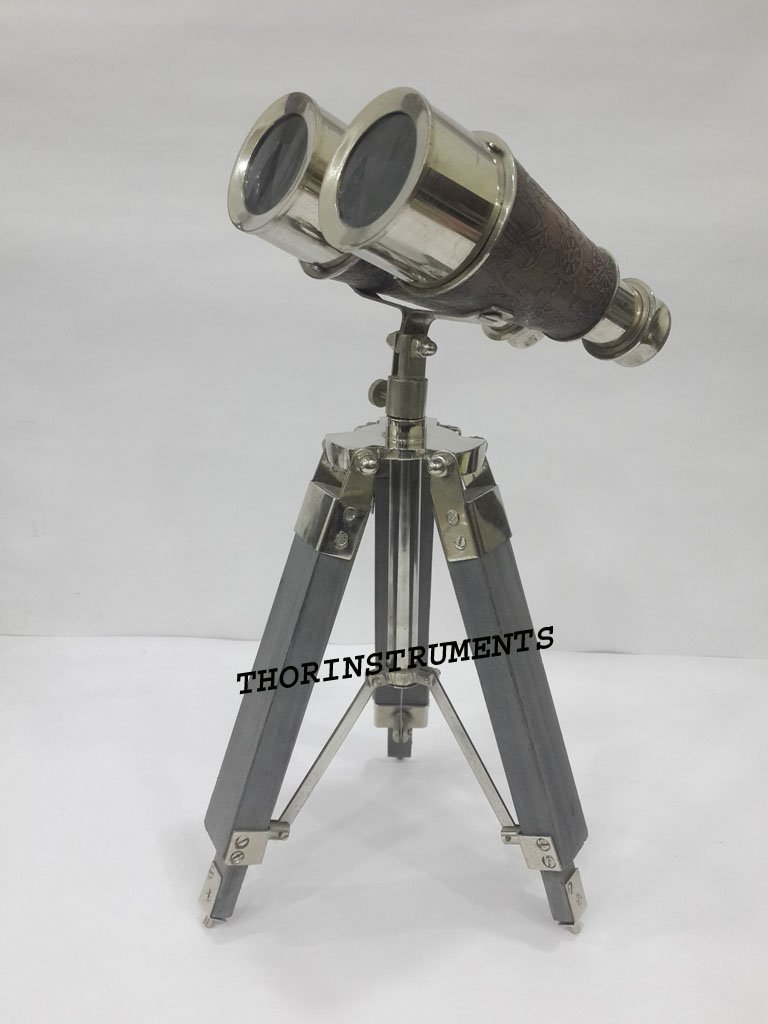THORINSTRUMENTS (with device) Vintage Nautical Chrome Finish Binocular With Grey Leather on Tripod Thorinstruments Co