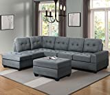 Harper & Bright Designs 3 Piece Sectional Sofa Microfiber with Reversible Chaise Lounge Storage Ottoman and Cup Holders (Grey Fabric)