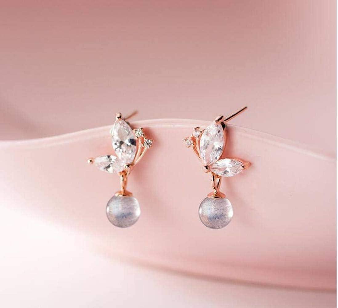 S&RL S925 Pendientes de Plata Estilo Coreano de Las Mujeres Pendientes de Mariposa de Diamantes Encantadores Pendientes de Piedra de Luna Corta Dulce Joyeríaoro rosa, Plata 925