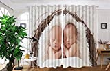 vanfan 2 Panel Set Digital Printed Blackout Window Curtains for Bedroom Living Room Dining Room Kids Youth Room Window Drapes(W54 x L45, Twin Newbornsn a basket)