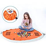 Play Mat Bag 2 in 1 - Durable100% Cotton Canvas 150cm (Orange) Large Play Mat and Storage Bag Drawstring for Lego/Magnetic Bu