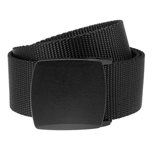 Ayliss® Original Unisex Nylon Gürtel mit Kunststoff Schnalle Stoffgürtel Einfachheit Belts 130cm (Schwarz)