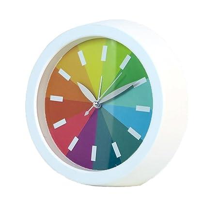 Novelty Simple Fashion Rainbow Round Silent Sweep Analog Alarm Clock for Home