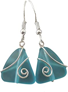 product image for Handmade in Hawaii,wire wrapped mini triangles Turquoise bay blue sea glass earrings, (Hawaii Gift Wrapped, Customizable Gift Message)