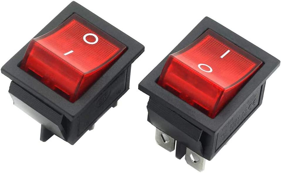 Fancierstudio Power Heat Press 2-Pack Rocker Power Switch 30A 4 Pin 2 Position ON//Off Power Switch Red Button with Light