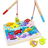 Wooden Wonders Let's Go Fishing! Dexterity Game, Counting and Matching Skills by Imagination Generation