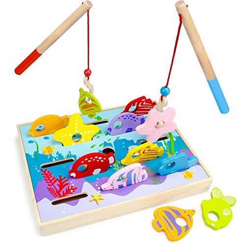 Wooden Wonders Let's Go Fishing! Dexterity Game, Counting and Matching Skills by Imagination Generation (Fine Motor)