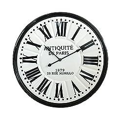 Creative Co-Op DA7648 Urban Homestead Black & White Embossed Metal Wall Clock