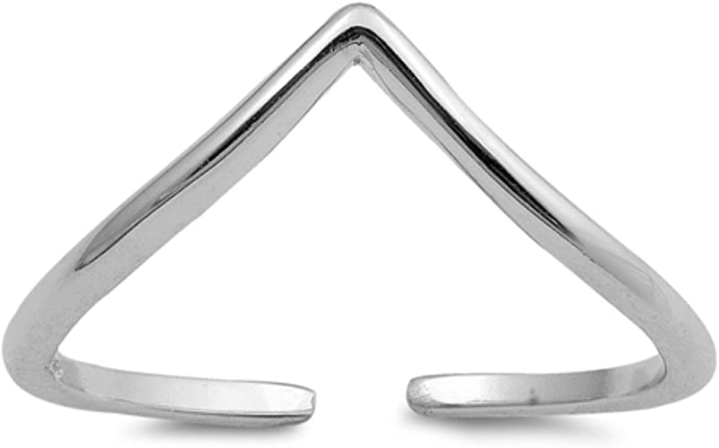 Toe Ring Sterling Silver Chevron Midi Adjustable Toe Ring