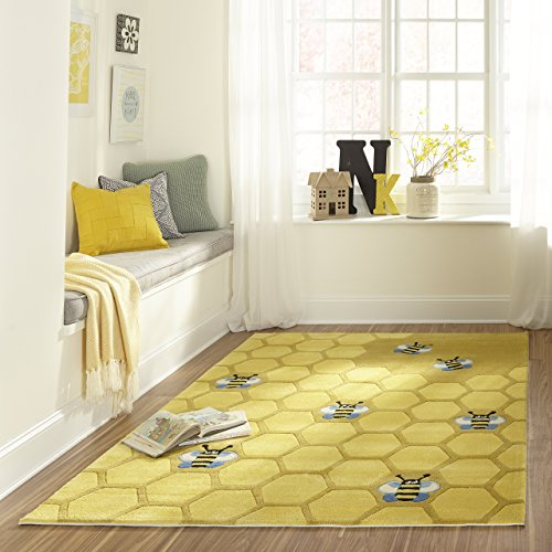 (Momeni Rugs LMOJULMJ15HCG2030 Lil' Mo Whimsy Collection, Kids Themed Hand Carved & Tufted Area Rug, 2' x 3', Honeycomb Yellow)