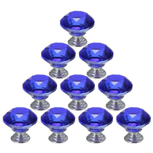 10PCS 30mm Crystal Glass Diamond Shape Cabinet Knob Cupboard Drawer Pull Handle by MECO