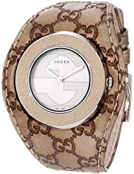 Gucci U-Play Stainless Steel Watch with Leather Womens Band(Model:YA129425)