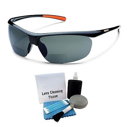a23b9e743b Amazon.com   Suncloud Zephyr Polarized Sunglass  Black Frame Gray Polarized  Polycarbonate Lenses with Lens Cleaning Kit   Sports   Outdoors