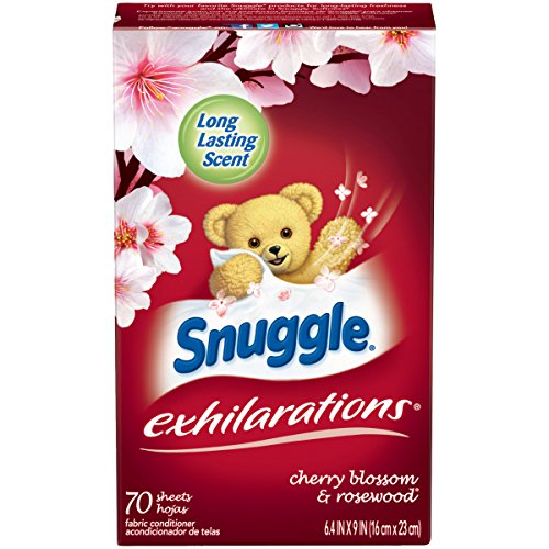 - Snuggle Exhilarations Fabric Softener Dryer Sheets, Cherry Blossom & Rosewood, 70 Count