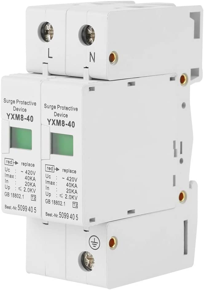 Esenlong 1 Pz 220V 2P 40Ka Dispositivo Scaricatore di Bassa Tensione di Protezione Contro Le Sovratensioni Bianco
