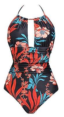 B2prity Women's One Piece Swimsuits Tummy Control Swimwear V Neck Bathing Suits