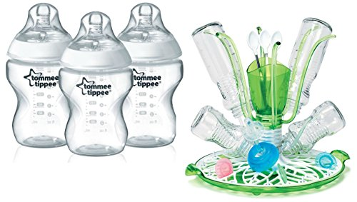 Tommee Tippee Closer To Nature Bottle 3 Pack with Sprout Dry