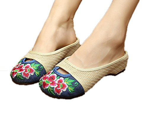 AvaCostume Womens Chinese Style Linen Weave Low Heel Slippers Sandals Blue BS49962l6