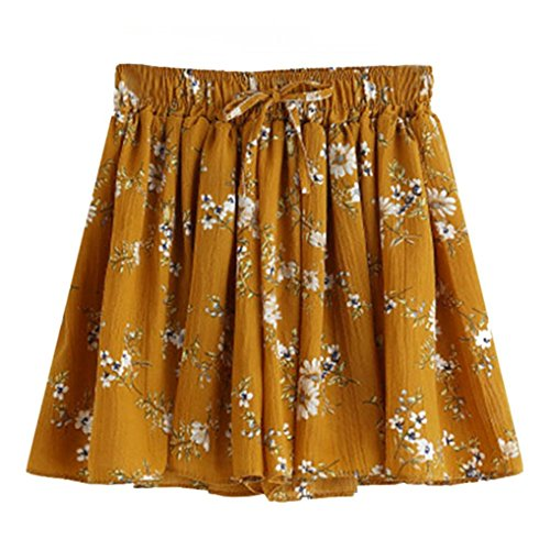 BCDshop Women's Vintage Floral Drawstring Summer Casual Shorts Flared Short Pants (Yellow, (French Flared Jeans)