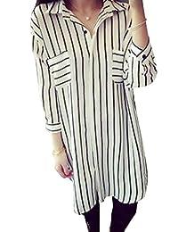 Shineya Women's Loose Chiffon Long Sleeve Stripes Casual Button Down Shirt