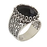925 Sterling Silver Black Onyx Oval Filigree Ring (Size 5 - 11) (5)