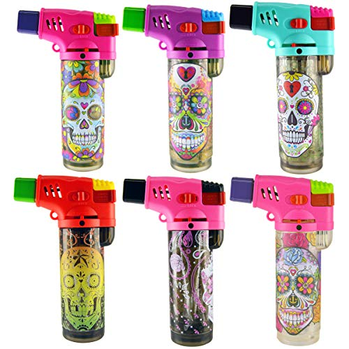 6 Pack Sugar Skull Design Turbo Blue XXL Jet Flame Refillable Torch Lighter with Powerful Windproof Flame and Removable Safety Clip