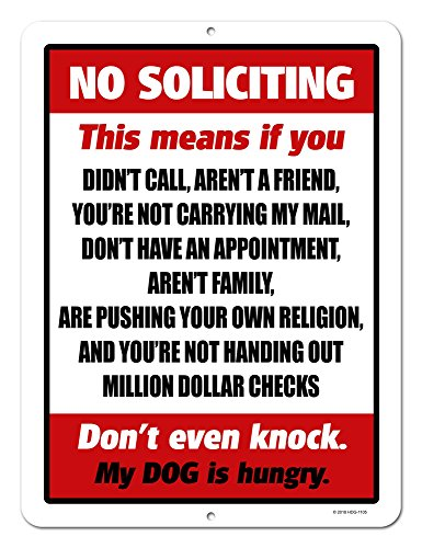 Funny Door Signs - Funny Decor, No Soliciting, 9 x 12 inch Novelty Tin No Soliciting Sign for House