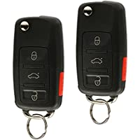 Replacement Keyless Entry Remote Flip Key Fob fits 2002 2003 2004 2005 VW Jetta, Golf, Passat (HLO1J0959753AM, Set of 2)
