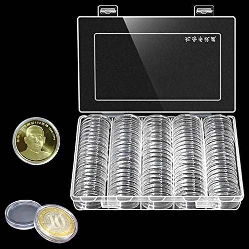Plastic Coin Cases (100 Round Coin Holder Case With Storage Organizer Collection Box Houseware 30 MM Transparent Coins Plastic Storage By Gentman)