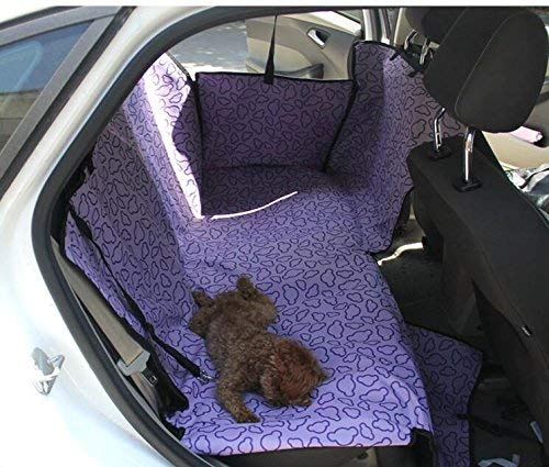 FDFERRT Universal Adjustable Double Layer Waterproof Pet Dog Cat Car Bed Seat Cover Mat for All Type of Vehicles Travel Hammock Blanket Safety (Purple) for Cat Dog
