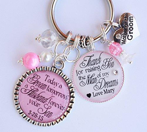 Wedding Key Chain Favors Groom - Personalized Mother of the Bride or Mother of the Groom Gift Key Chain from both Bride and Groom Wedding Thank You MOB MOG custom name