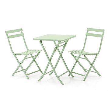 3 Pièces Tables Pliantes Chaise D\'extérieur Métal Patio ...