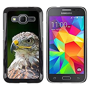 Las plumas de Eagle del halcón pájaro verde de verano- Metal de aluminio y de plástico duro Caja del teléfono - Negro - Samsung Galaxy Core Prime