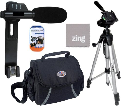 Accessory Package For Sony HDR-CX160 HDR-CX190 HDR-CX200 HDR-CX210 HDR-CX220 HDR-CX230 HDR-CX260V HDR-CX290 HDR-CX300 HDR-CX305 HDR-CX380 HDR-CX430V - Includes Mini Zoom Directional Shotgun Microphone + Soft Medium Camcorder Case + 57 Inch Tripod For + Mini HDMI-HDMI Cable More!!