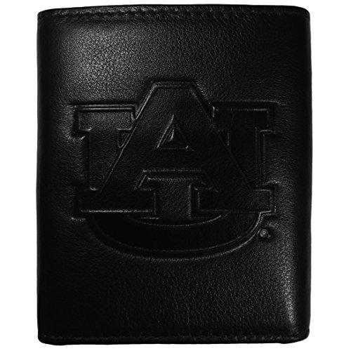 Auburn Tigers Black Leather (NCAA Auburn Tigers Embossed Black Tri-fold Leather Wallet)