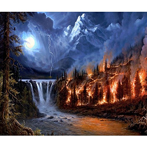 DIY 5D Diamond Painting Volcano Waterfall Full Diamond Crystal Rhinestone Embroidery Pictures Arts Craft for Home Wall Decor HOT SALE ! ❤️ ZYEE (Multicolor (30*40cm))
